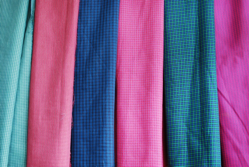 Specialty plaid fabric for the making of traditional embroidered aprons in San Miguel Del Valle.