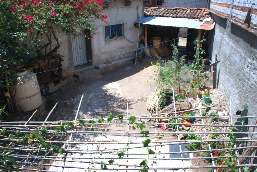 The lovely courtyard in the home of a local borrower.