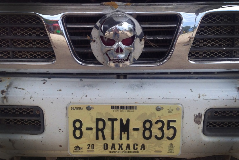 The front of the colectivo truck from Hierve el Agua to Mitla.