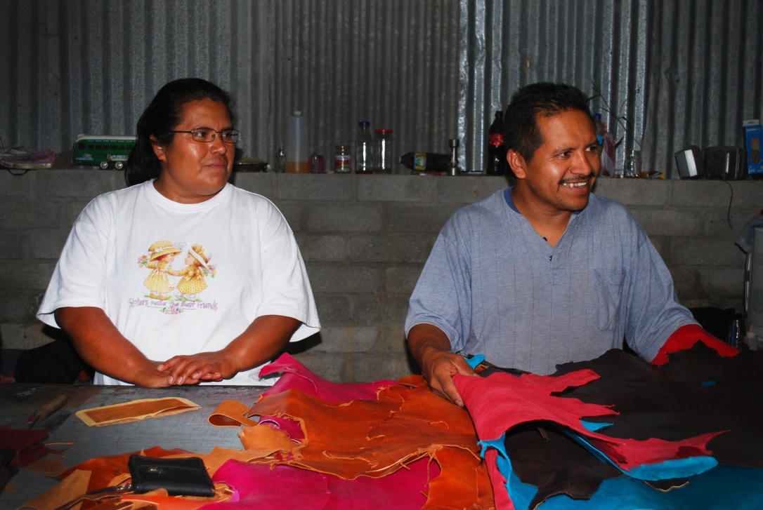 Claudia and Pedro explain the process around their leather product business.