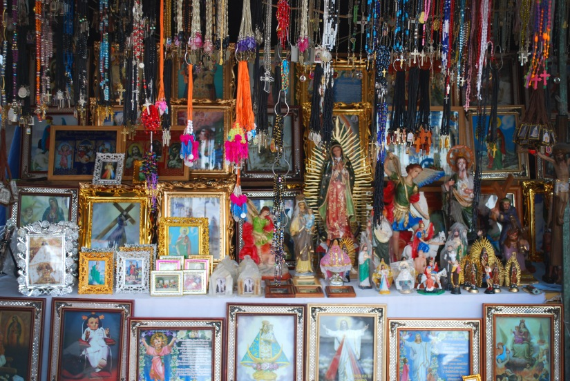 Religious items on sale at the front of the church.
