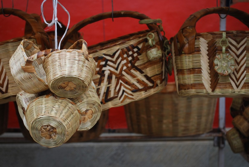 Beautifully made baskets in one vendor stall.