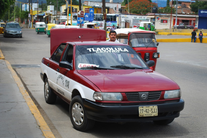 Looking back at my colectivo taxi before I head into the Sunday market in Tlacolula.