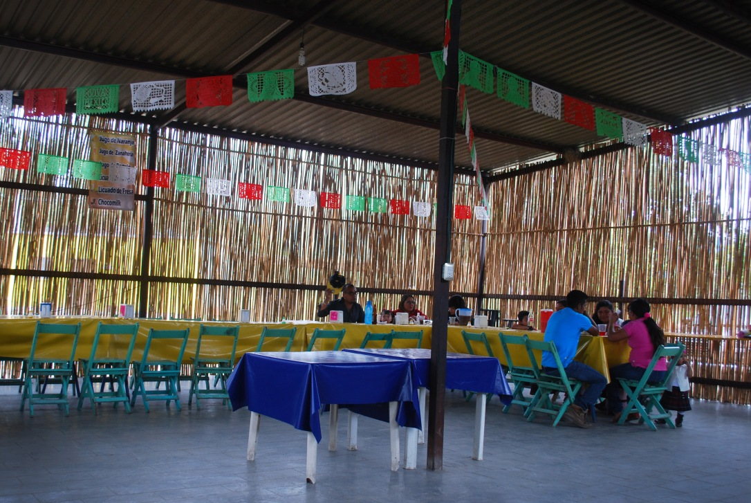 Families dine together in the local restaurant.