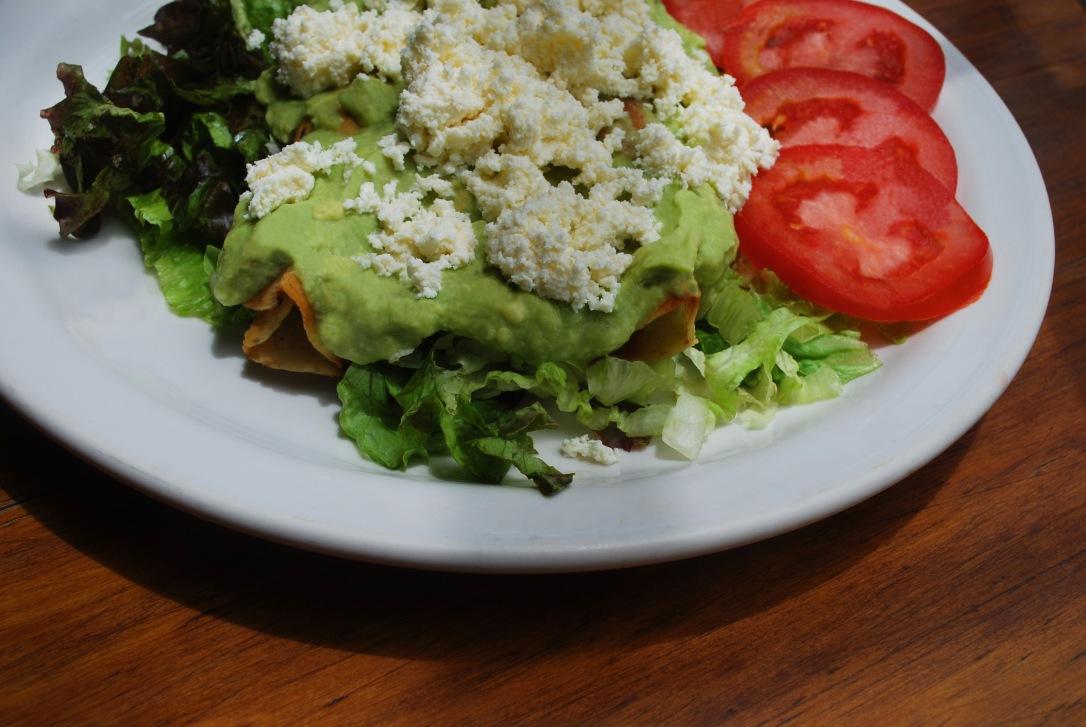 Chicken-filled tacos dorados at Cafe Los Cuiles