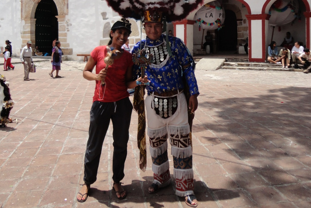 Andrea and one of the performers from Danza de la Pluma in Teotitlan.