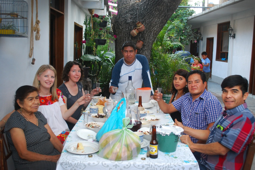 Ehren Seeland with the Méndez family and friends in Mitla.