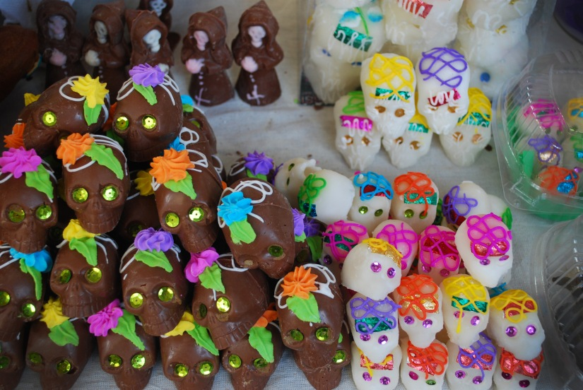Chocolate and sugar skulls for sale in Oaxaca.