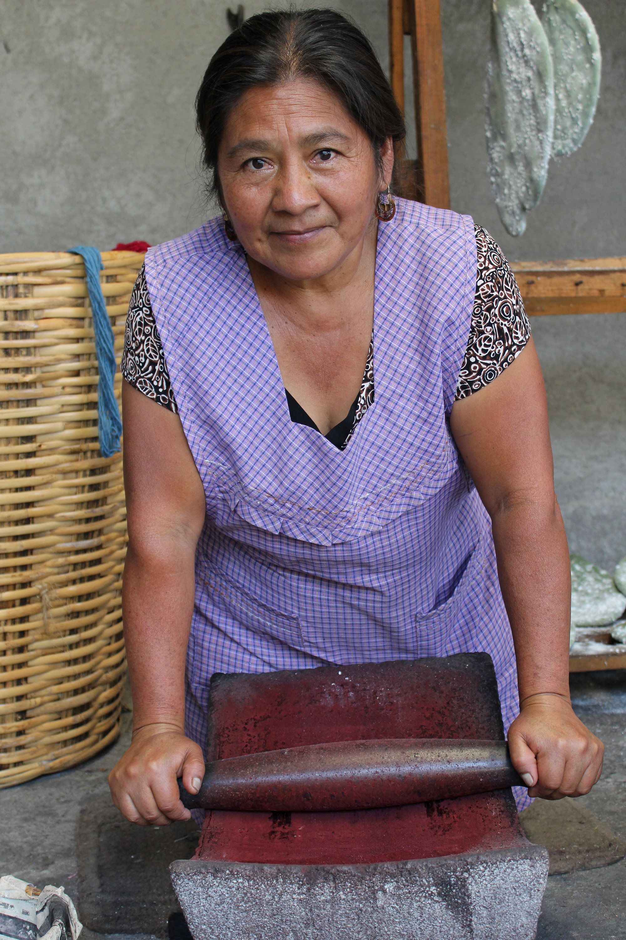 Rafaela grinds cochineal on metate