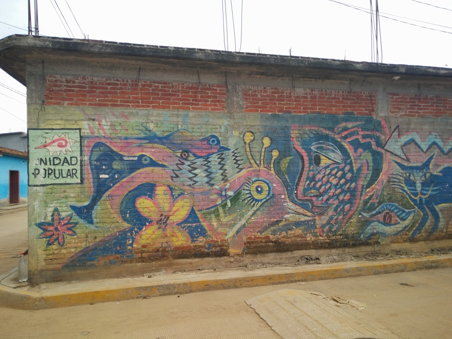 A front view photo of a colorful mural on one of the streets in Santo Domingo Tomaltepec. On it, a face, a bird, a cat, and a sign that says UNIDAD POPULAR.