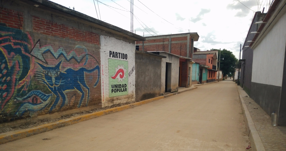 A mural of the Partido, a blue cat, and an arrow is on the left wall of buildings on the side of an empty street. An empty road in Santo Domingo Tomaltepec is lined by some colorful buildings.